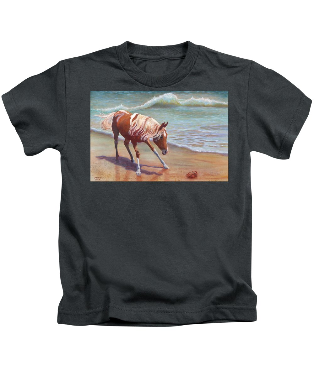 Animals Kids T-Shirt featuring the painting The Big Standoff by Brenda Griffin