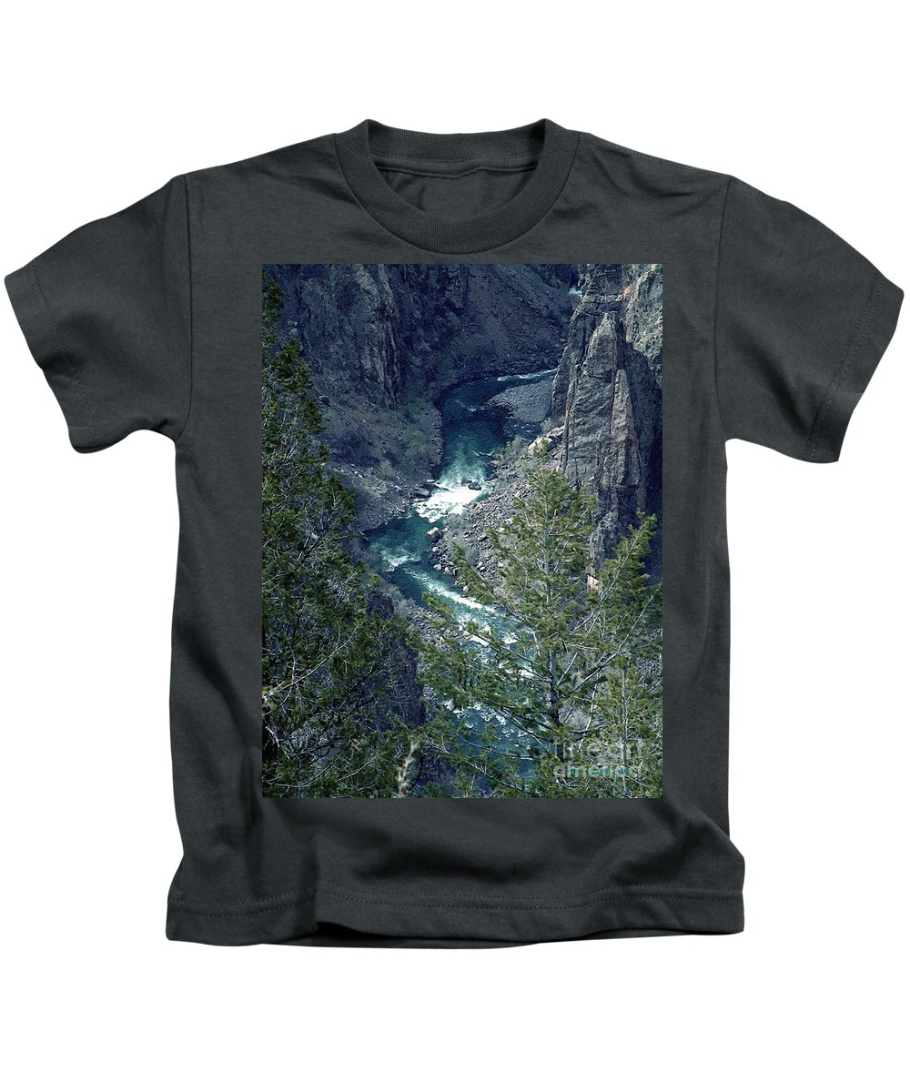 Canyon Kids T-Shirt featuring the painting The Black Canyon Of The Gunnison by RC DeWinter