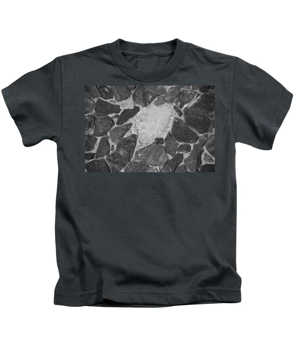 Black And White Kids T-Shirt featuring the photograph The Black Wall by Rob Hans