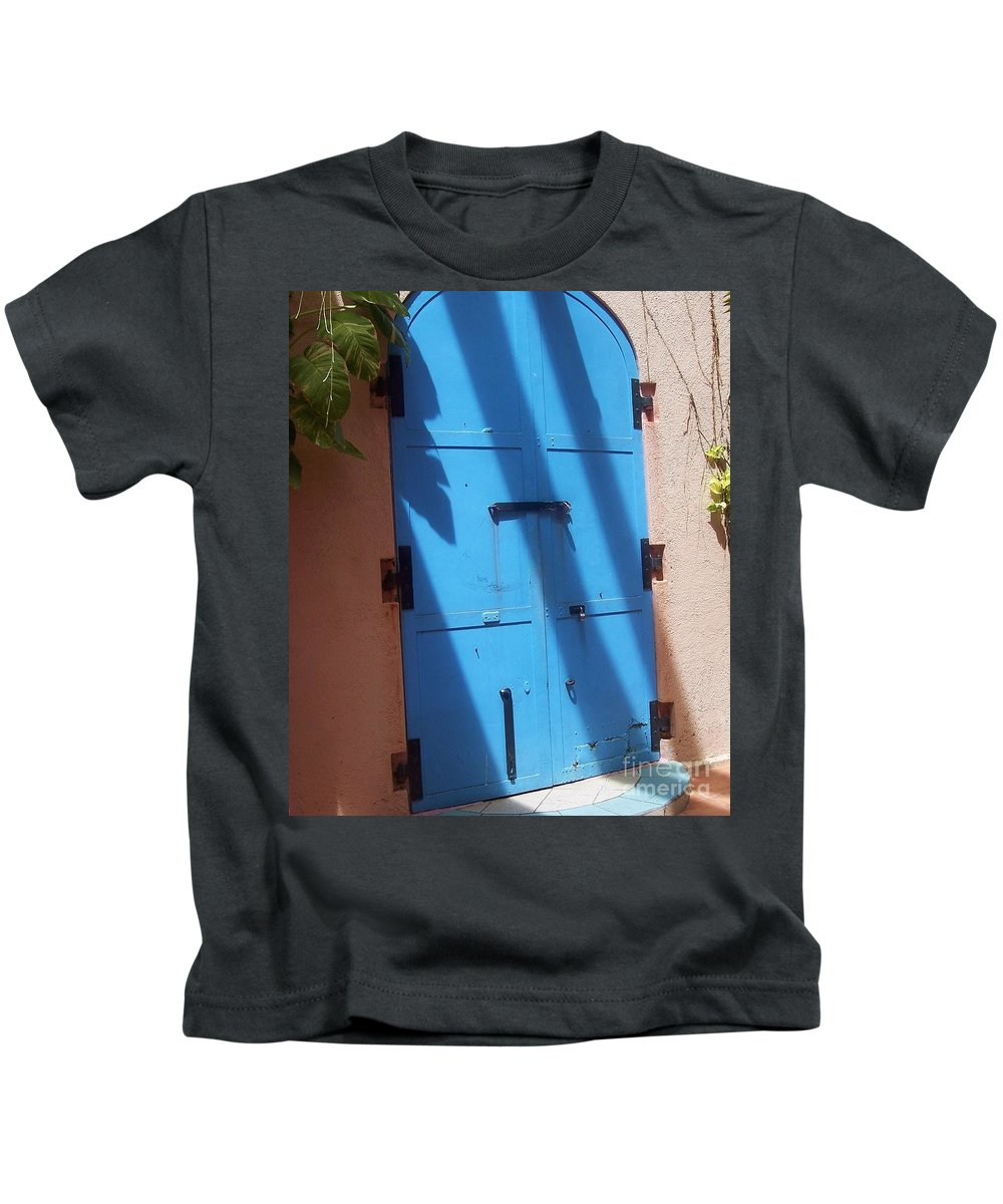 Architecture Kids T-Shirt featuring the photograph The Blue Door by Debbi Granruth