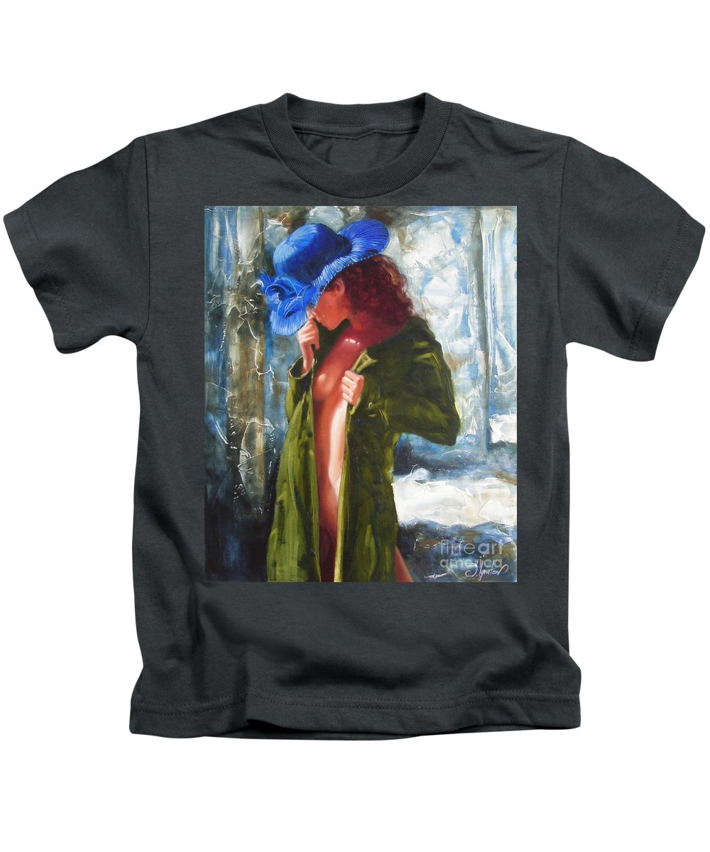 Art Kids T-Shirt featuring the painting The Blue Hat by Sergey Ignatenko