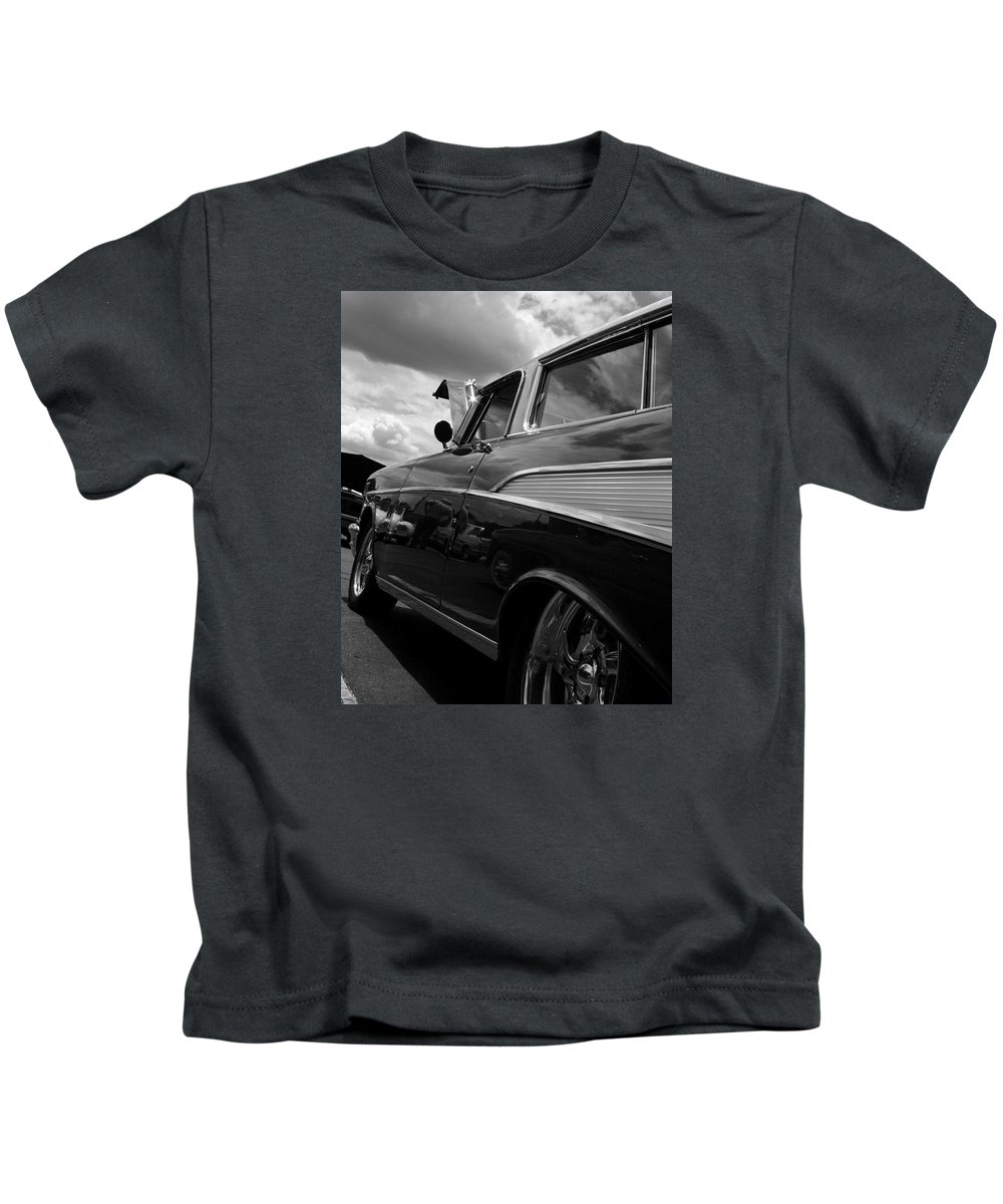 Antique Car In Black And White On Canvas. Framed Photo. Antique Car Printed On A Metal Plate. Kids T-Shirt featuring the digital art The Bowtie by Steve Godleski