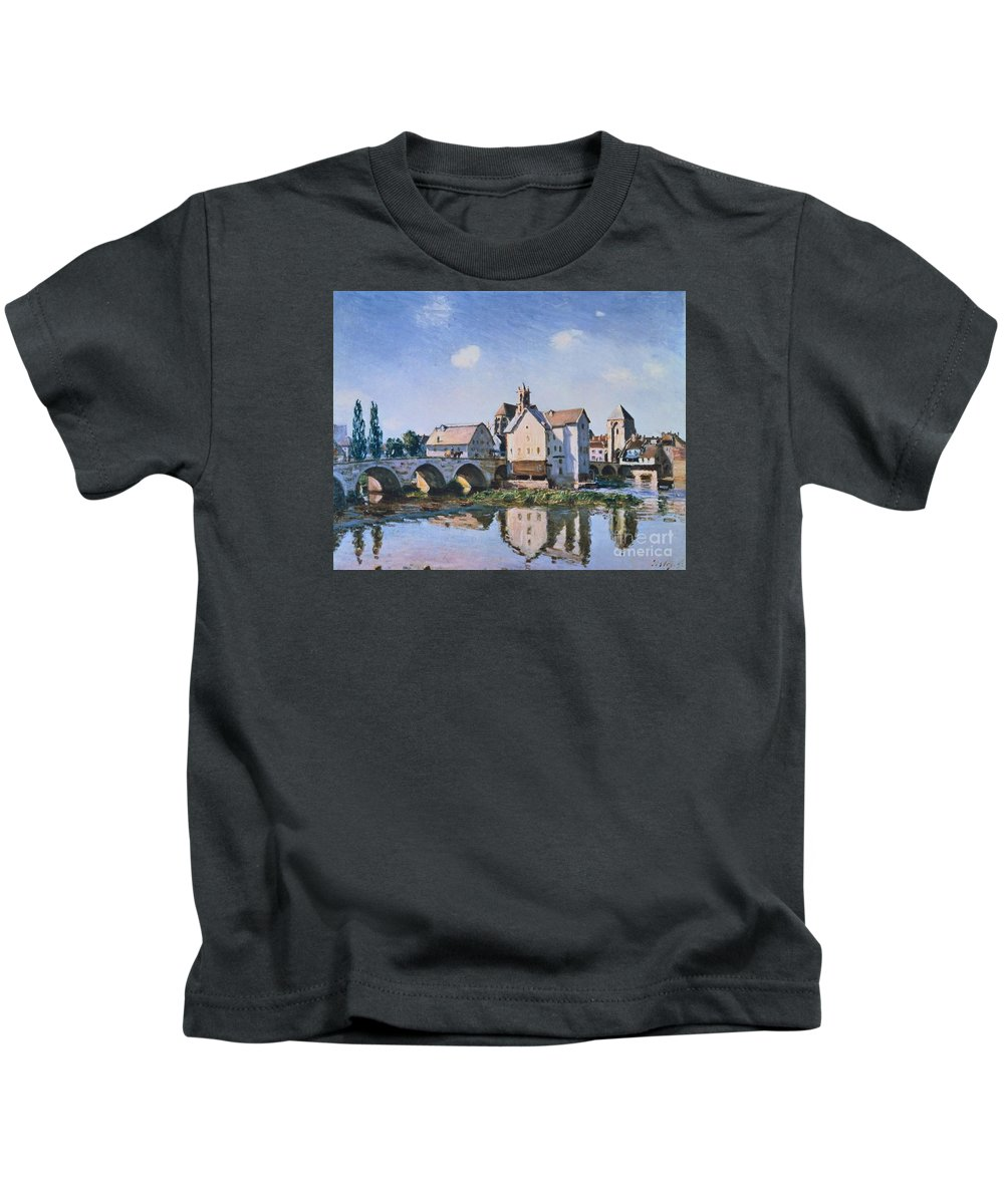 The Bridge Of Moret In The Sunlight Kids T-Shirt featuring the painting The Bridge Of Moret In The Sunlight by MotionAge Designs