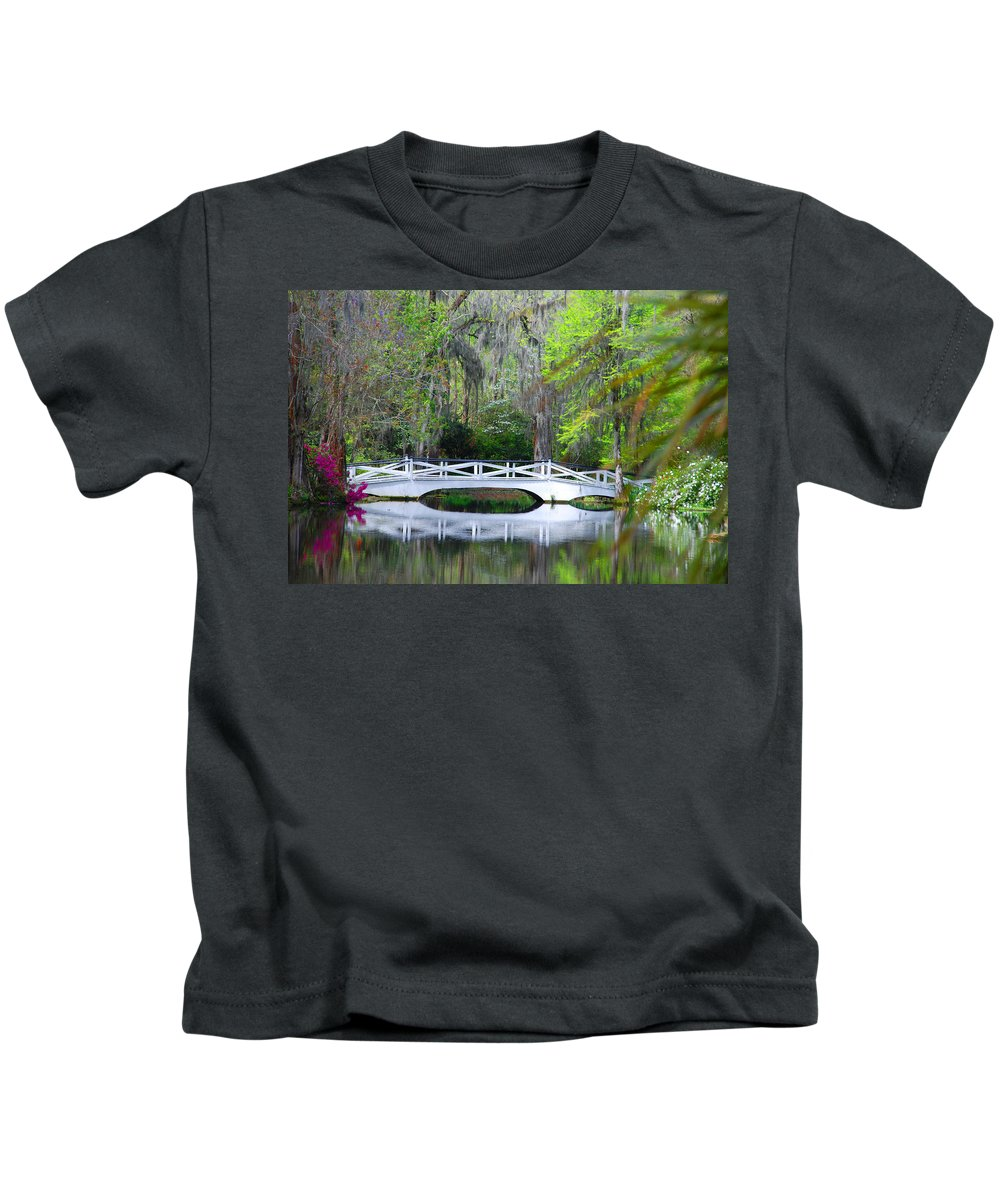Photography Kids T-Shirt featuring the photograph The Bridges In Magnolia Gardens by Susanne Van Hulst