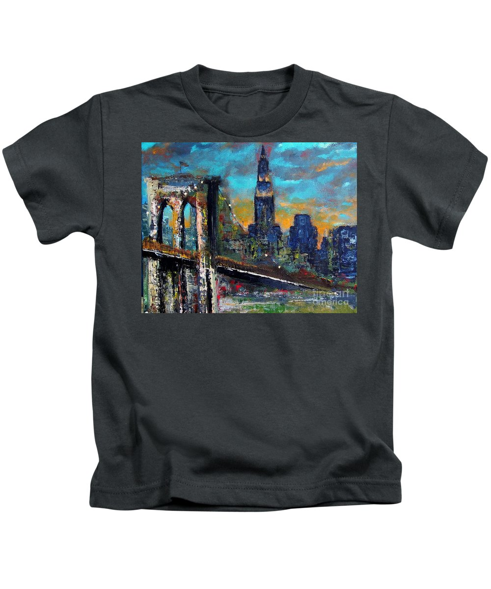 Bridges Kids T-Shirt featuring the painting The Brooklyn Bridge by Frances Marino