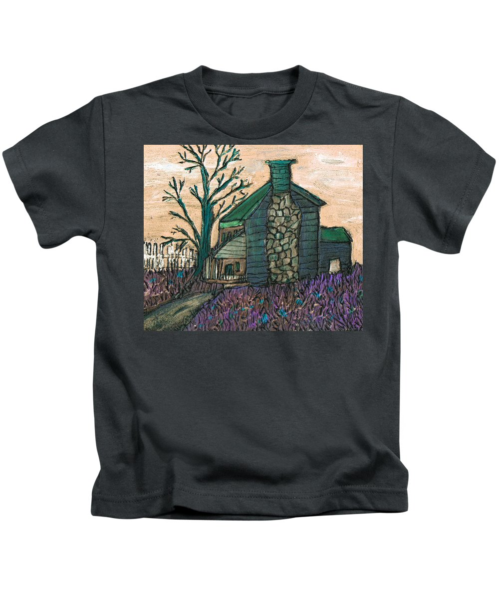 Cabin Kids T-Shirt featuring the painting The Cabin 2 by Wayne Potrafka