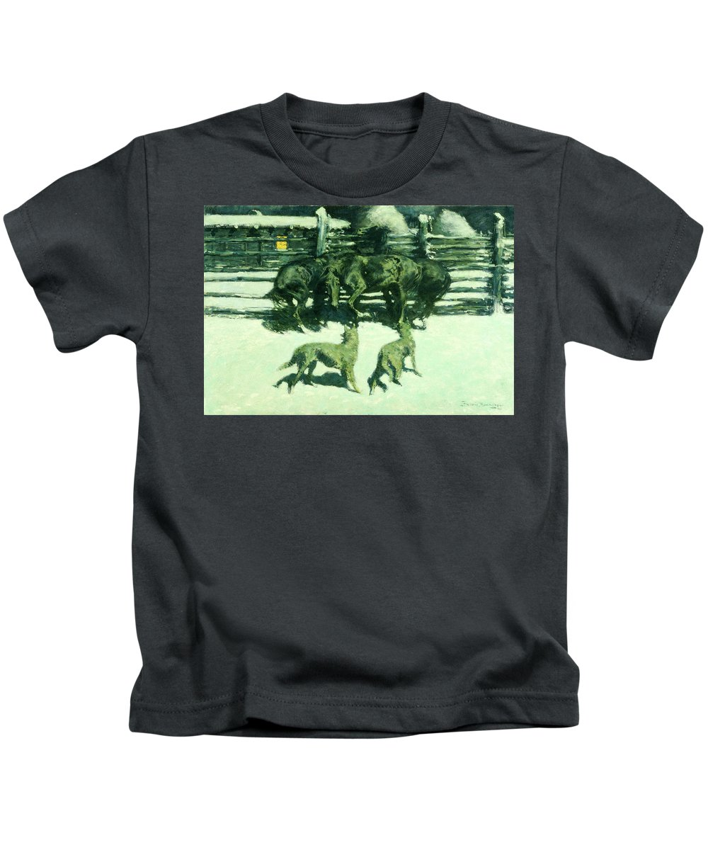 Horses Kids T-Shirt featuring the painting The Call For Help by Frederic Sackrider Remington