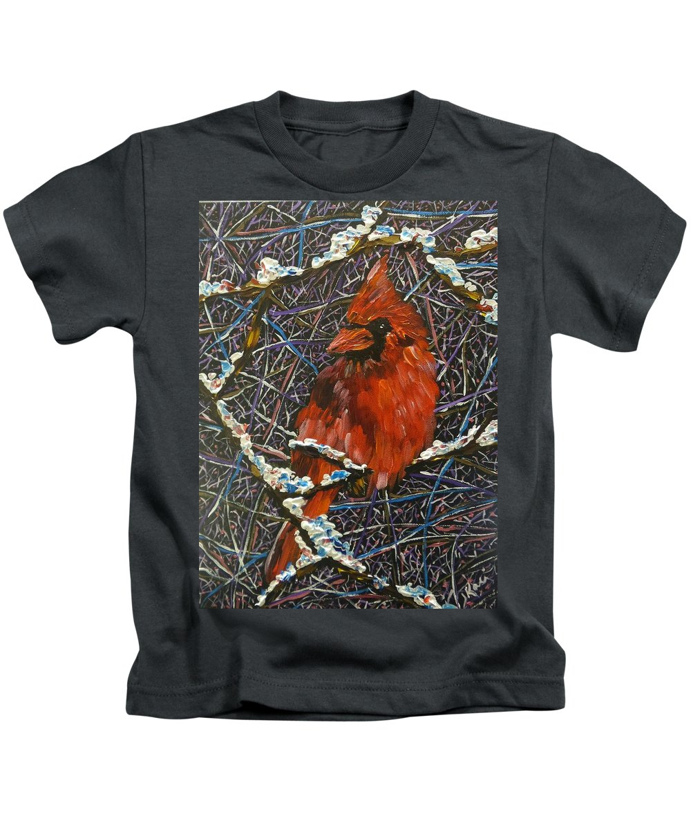 Birds Kids T-Shirt featuring the painting The Cardinal by Kari Parkhouse