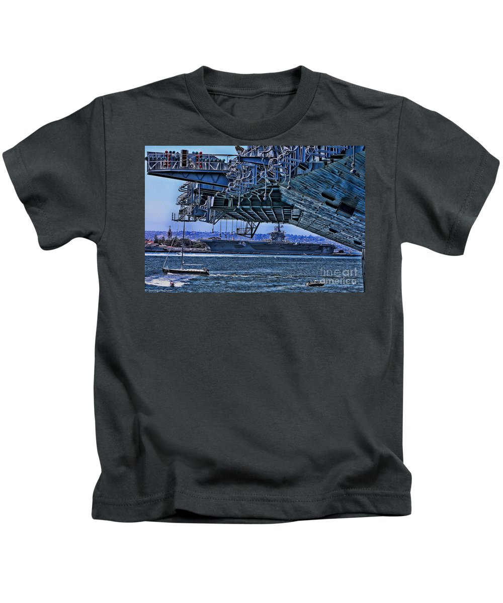 Uss Midway Kids T-Shirt featuring the photograph The Carriers by Tommy Anderson