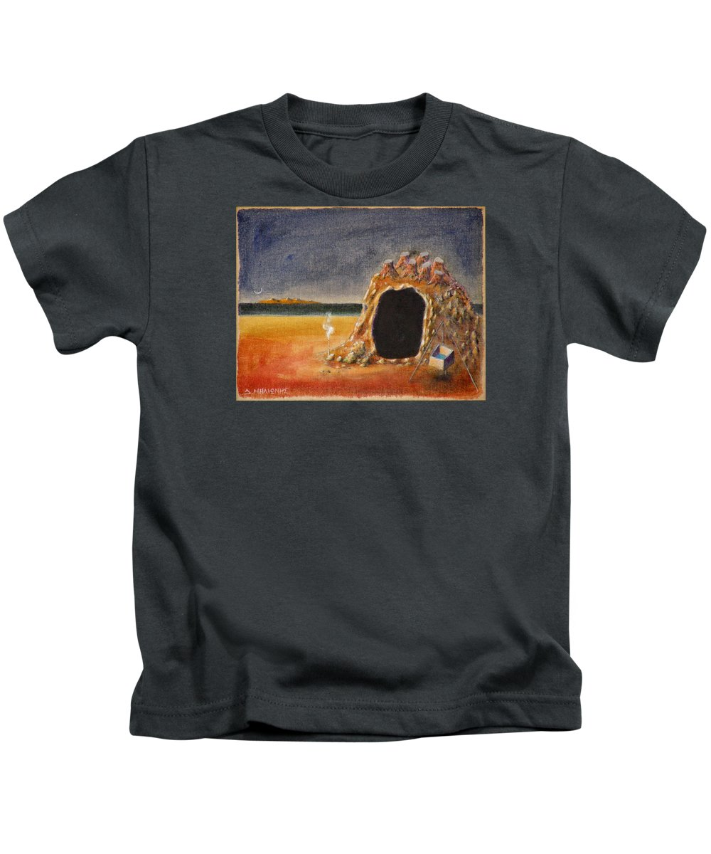 Metaphysacal Kids T-Shirt featuring the painting The Cave Of Orpheas by Dimitris Milionis