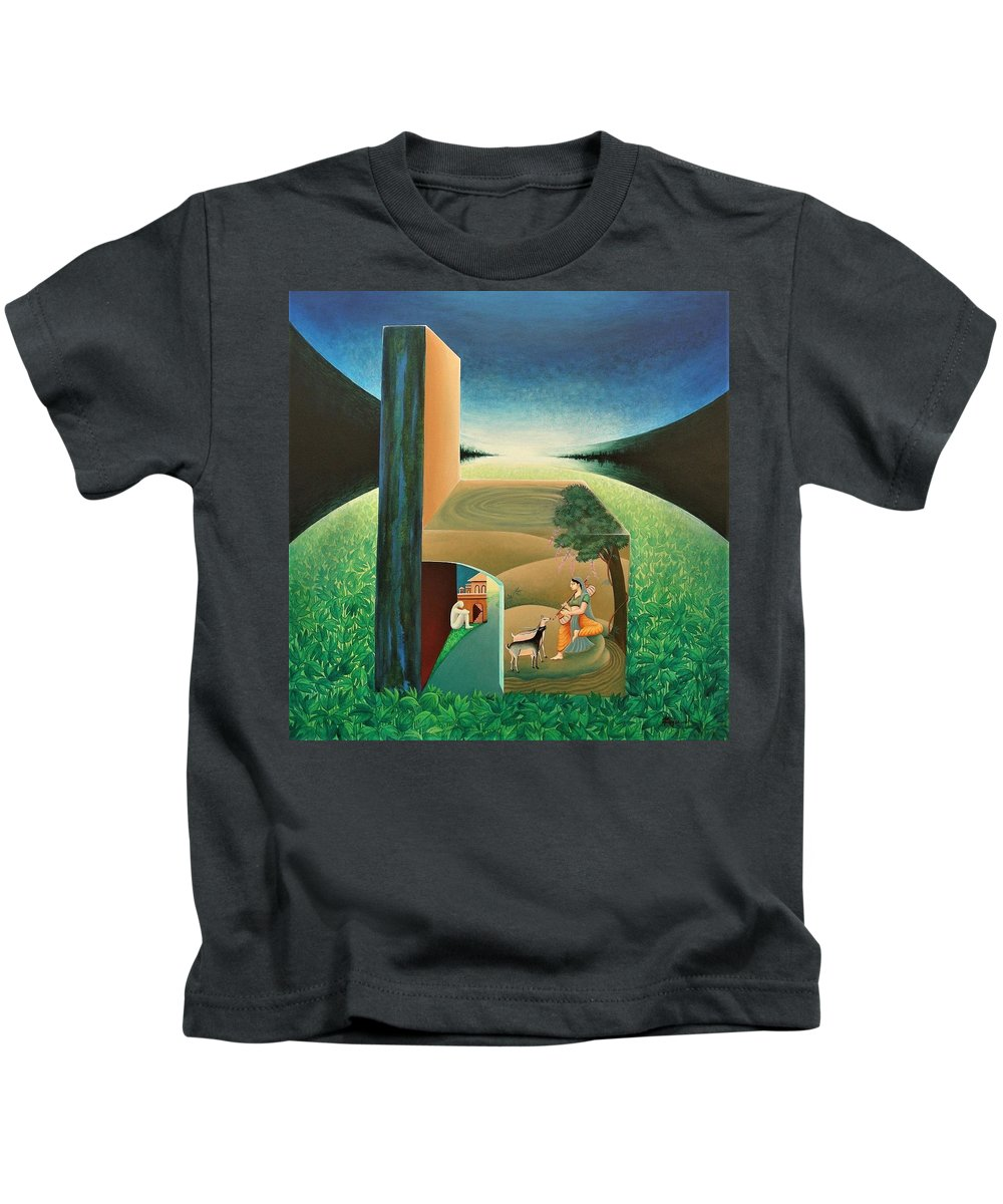Romantic Kids T-Shirt featuring the painting The Chair - A by Raju Bose