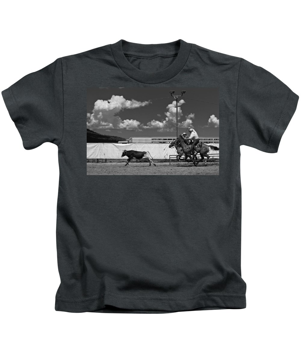 Calf Kids T-Shirt featuring the photograph The Chase For Time by Scott Sawyer