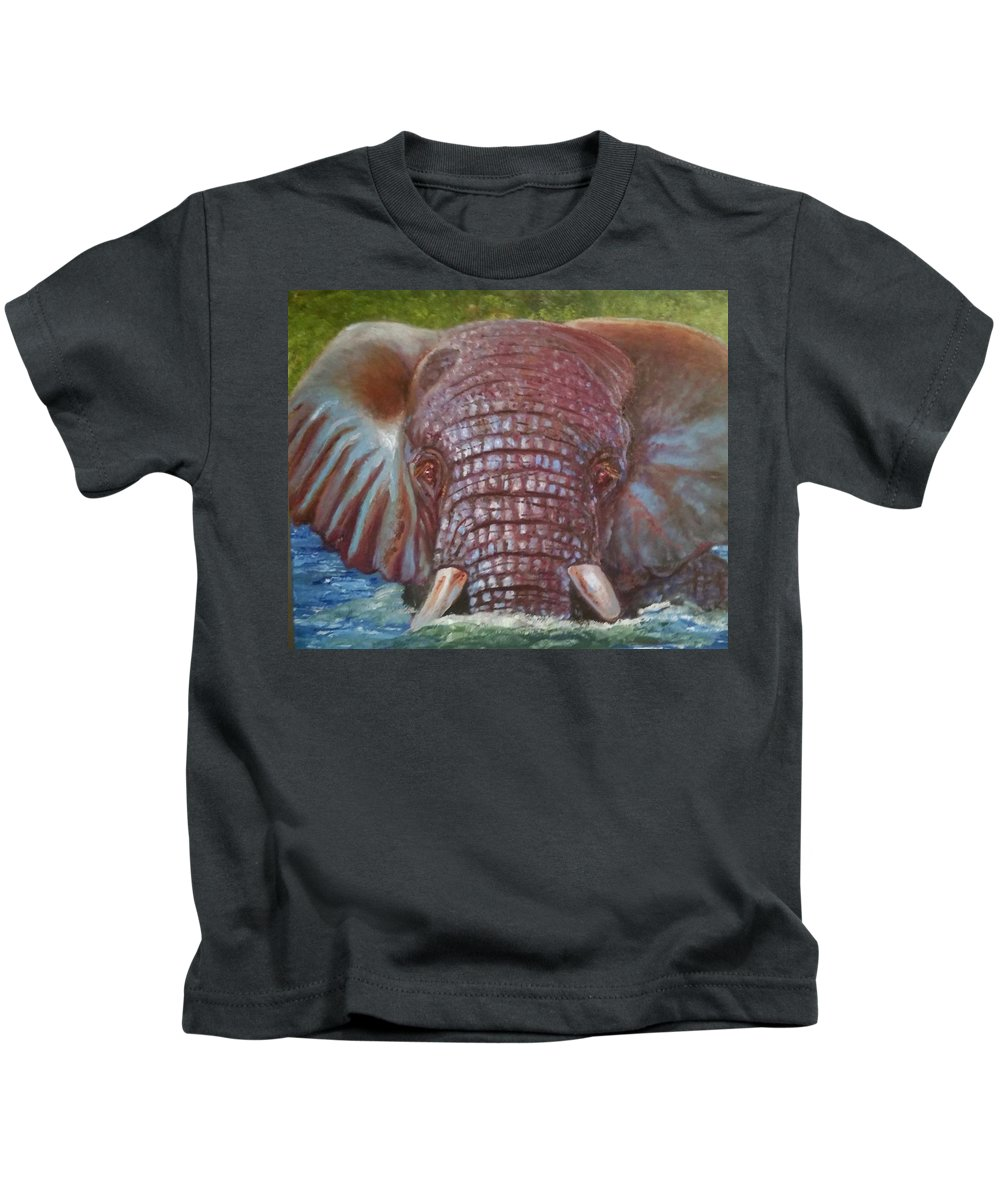 Elephant Kids T-Shirt featuring the painting The Colour Of Life by Jake Knee