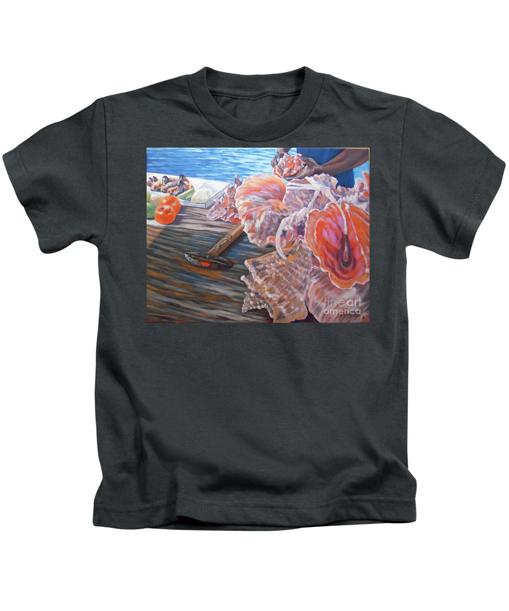 Bahamas Kids T-Shirt featuring the painting The Conchman by Danielle Perry