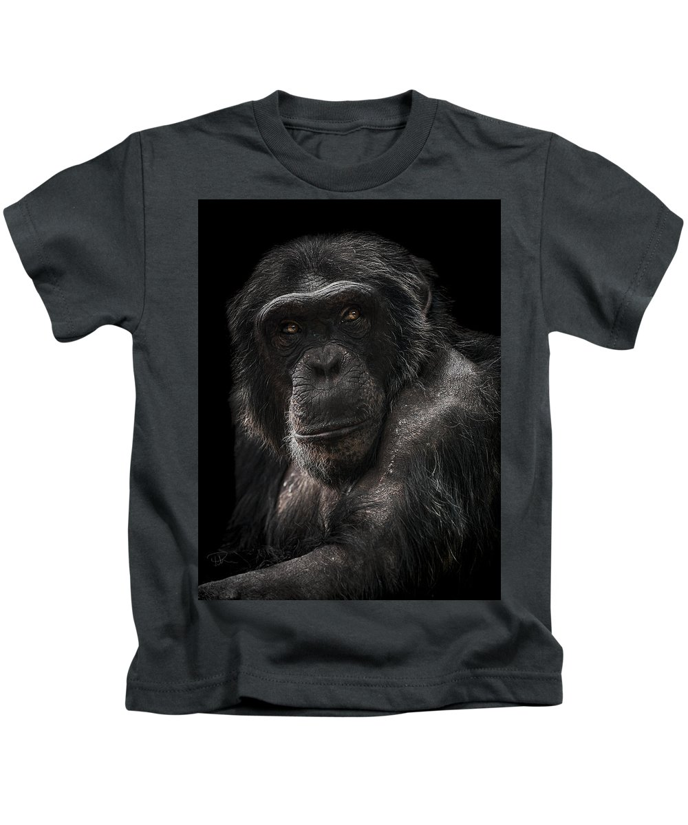 Chimpanzee Kids T-Shirt featuring the photograph The Contender by Paul Neville