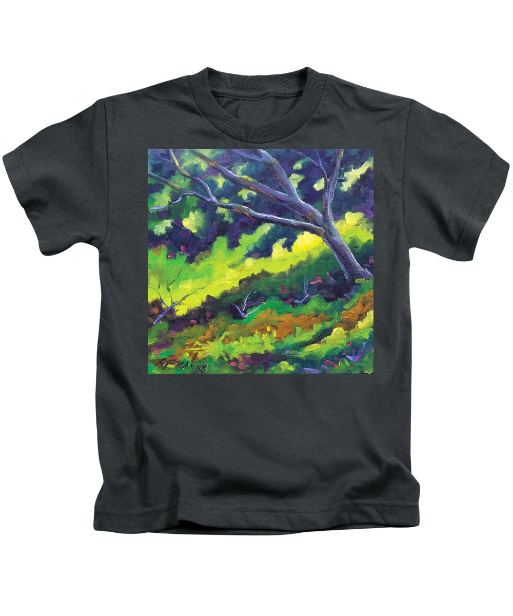 Art Kids T-Shirt featuring the painting The Cool Shade by Richard T Pranke