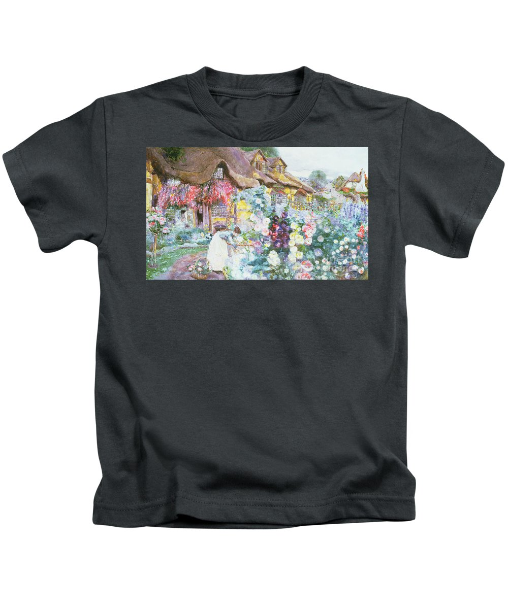 The Cottage Garden Kids T-Shirt featuring the painting The Cottage Garden by David Woodlock
