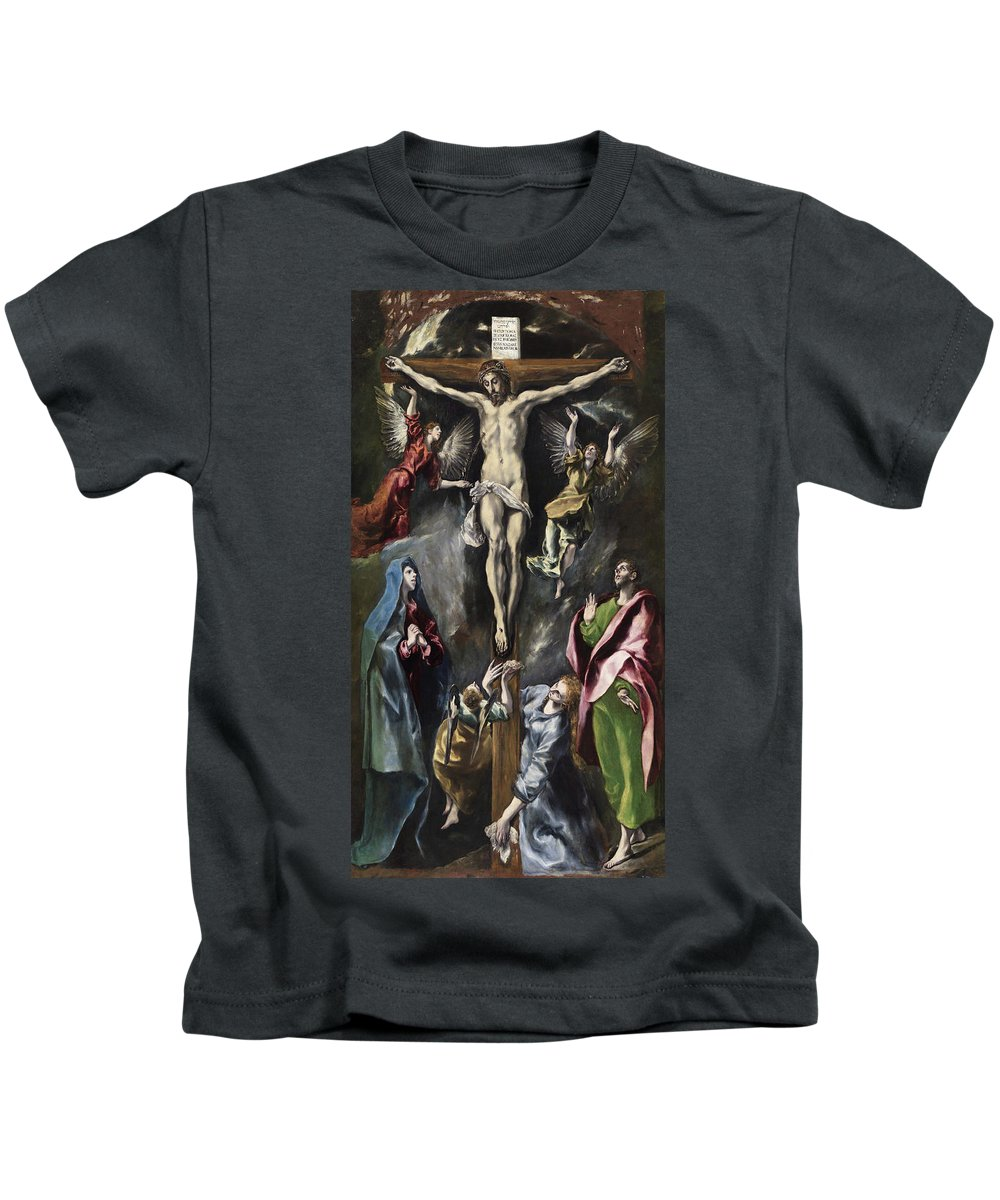 Christ Kids T-Shirt featuring the painting The Crucifixion by El Greco