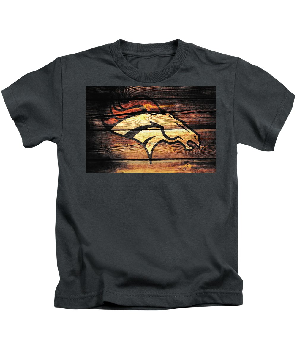 Denver Broncos Kids T-Shirt featuring the mixed media The Denver Broncos 5a by Brian Reaves