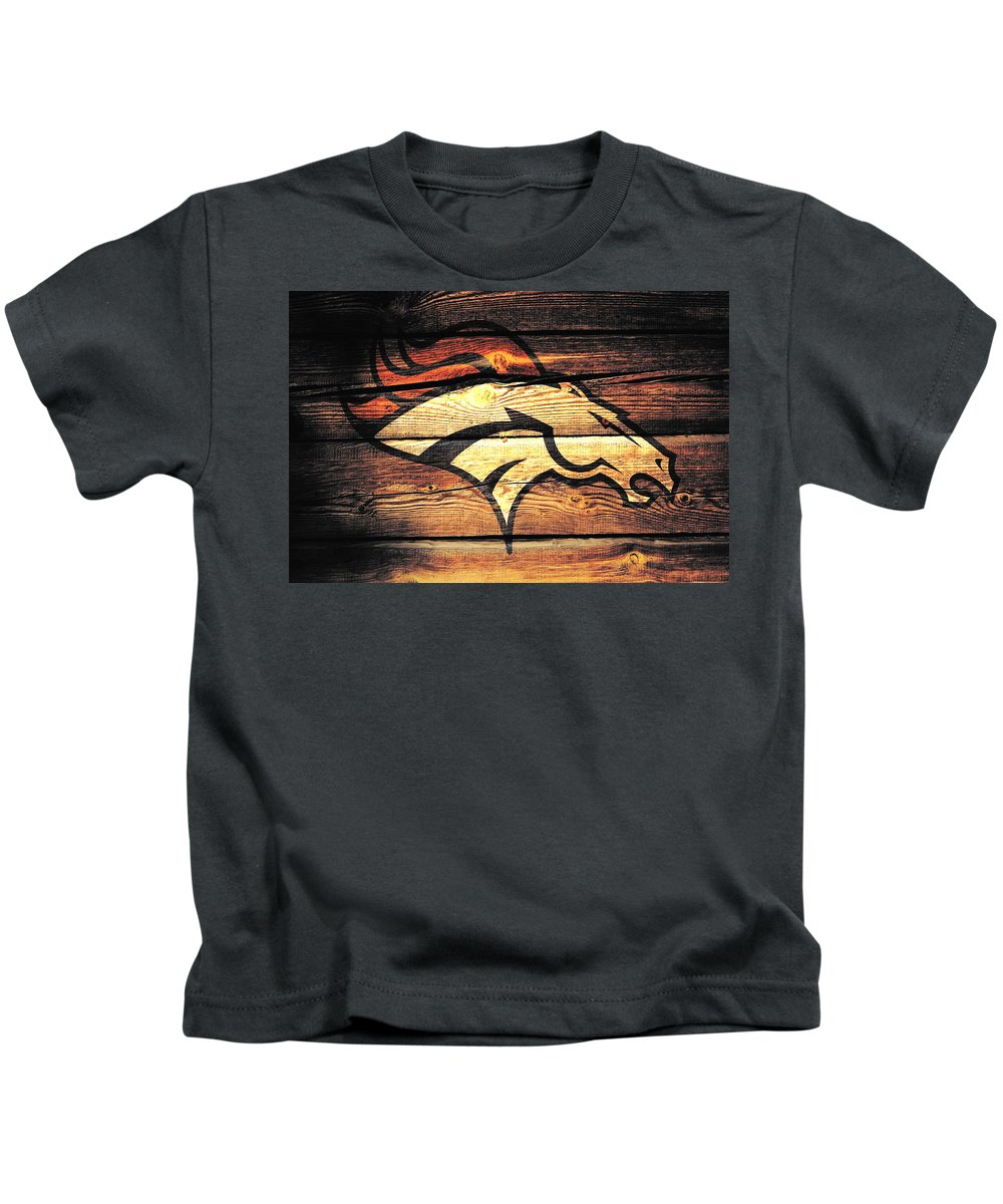 Denver Broncos Kids T-Shirt featuring the mixed media The Denver Broncos 5b by Brian Reaves