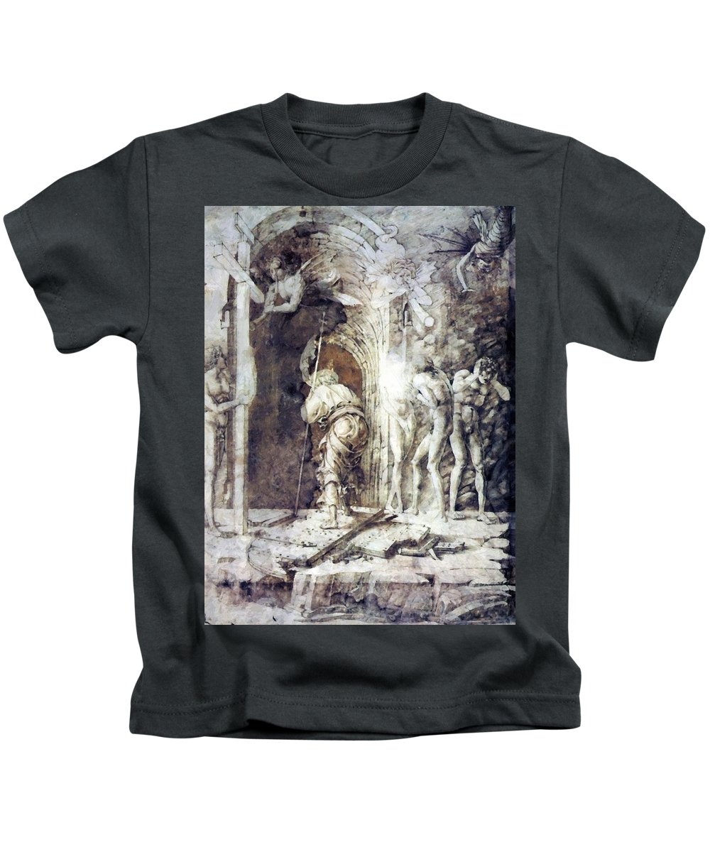The Kids T-Shirt featuring the painting The Descent Into Hell 1468 by Mantegna Andrea