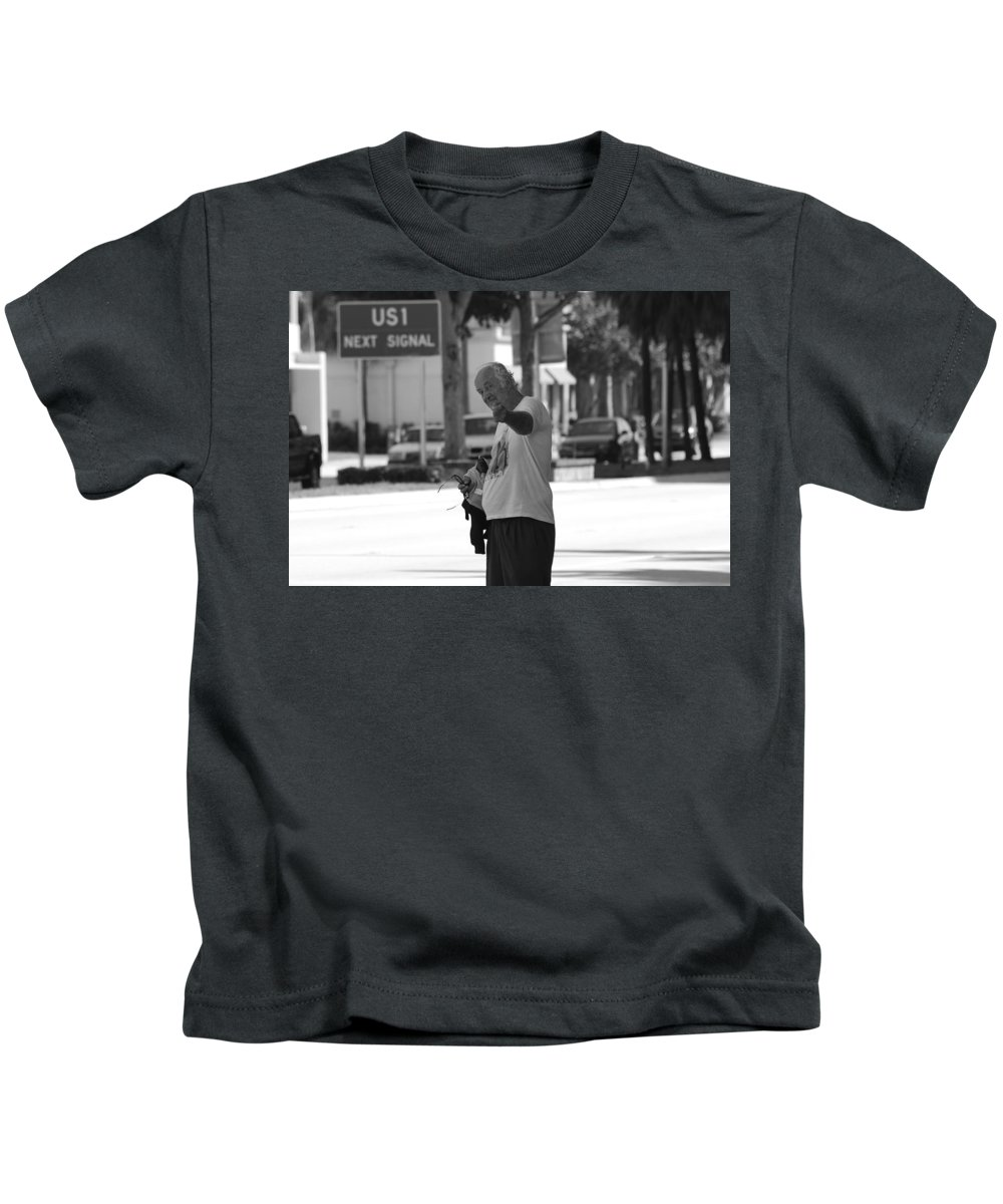 Black And White Kids T-Shirt featuring the photograph The Devil Man by Rob Hans