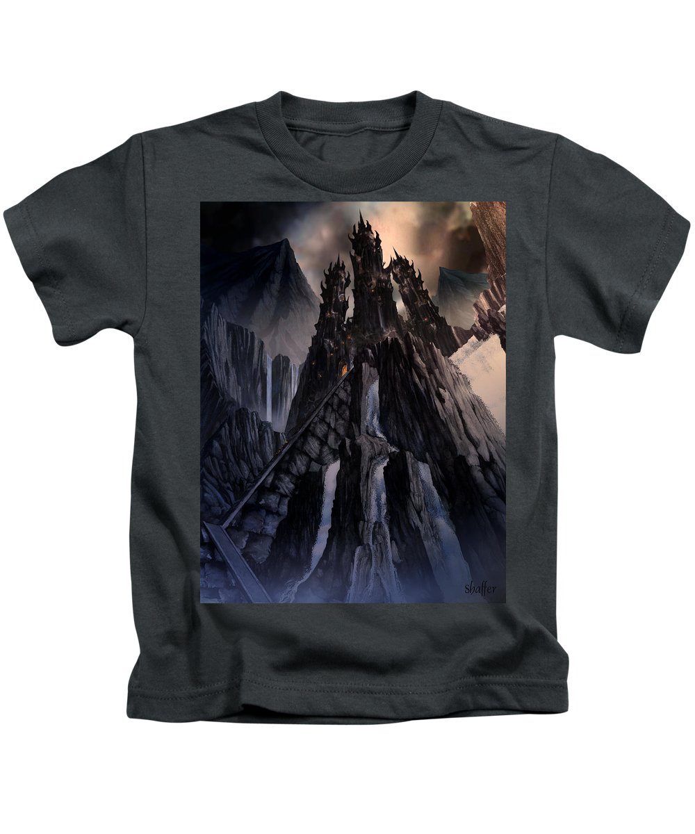 Architectural Kids T-Shirt featuring the mixed media The Dragon Gate by Curtiss Shaffer