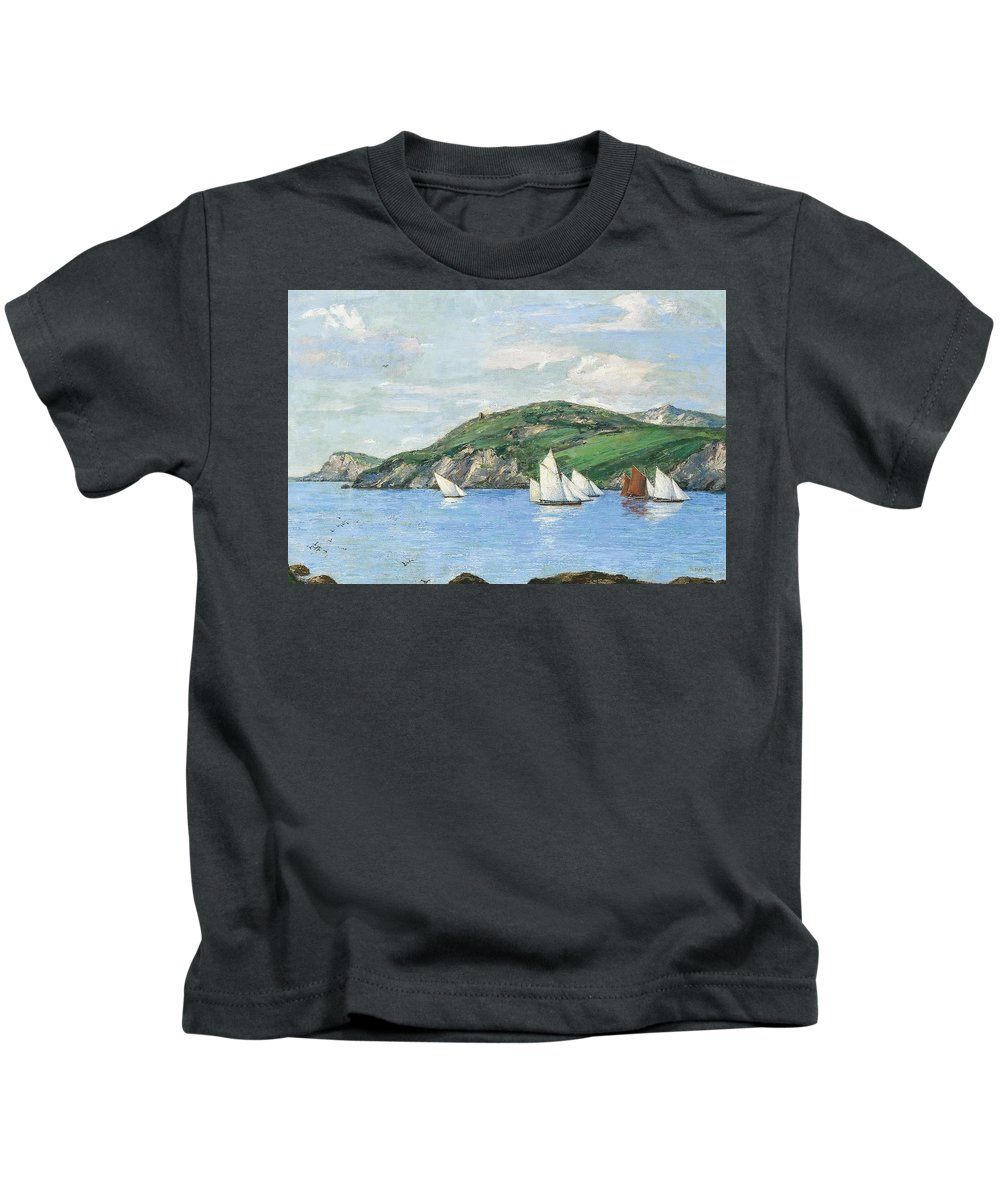 Henry Moore Kids T-Shirt featuring the painting The Drifting Fishing Fleet by MotionAge Designs