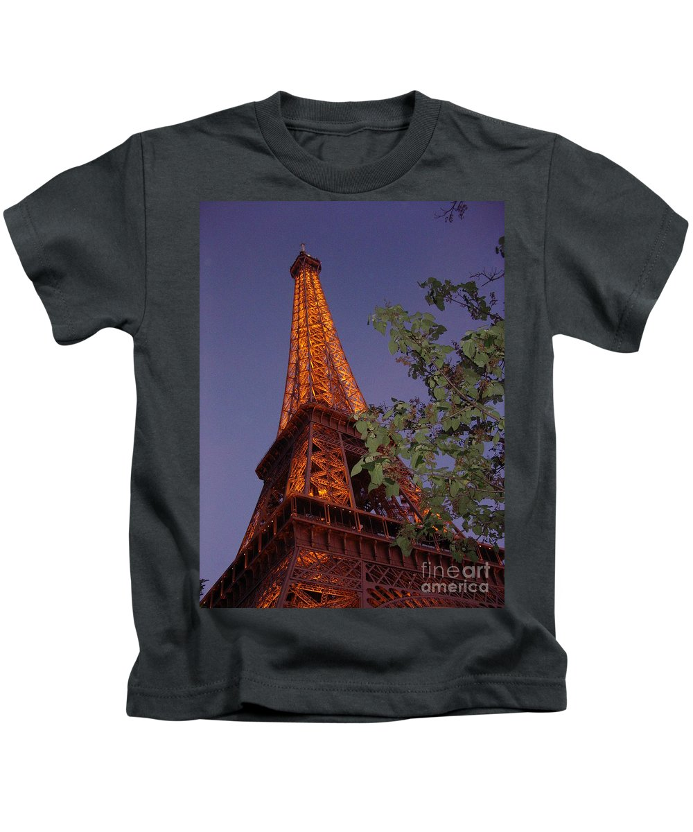 Tower Kids T-Shirt featuring the photograph The Eiffel Tower Aglow by Nadine Rippelmeyer