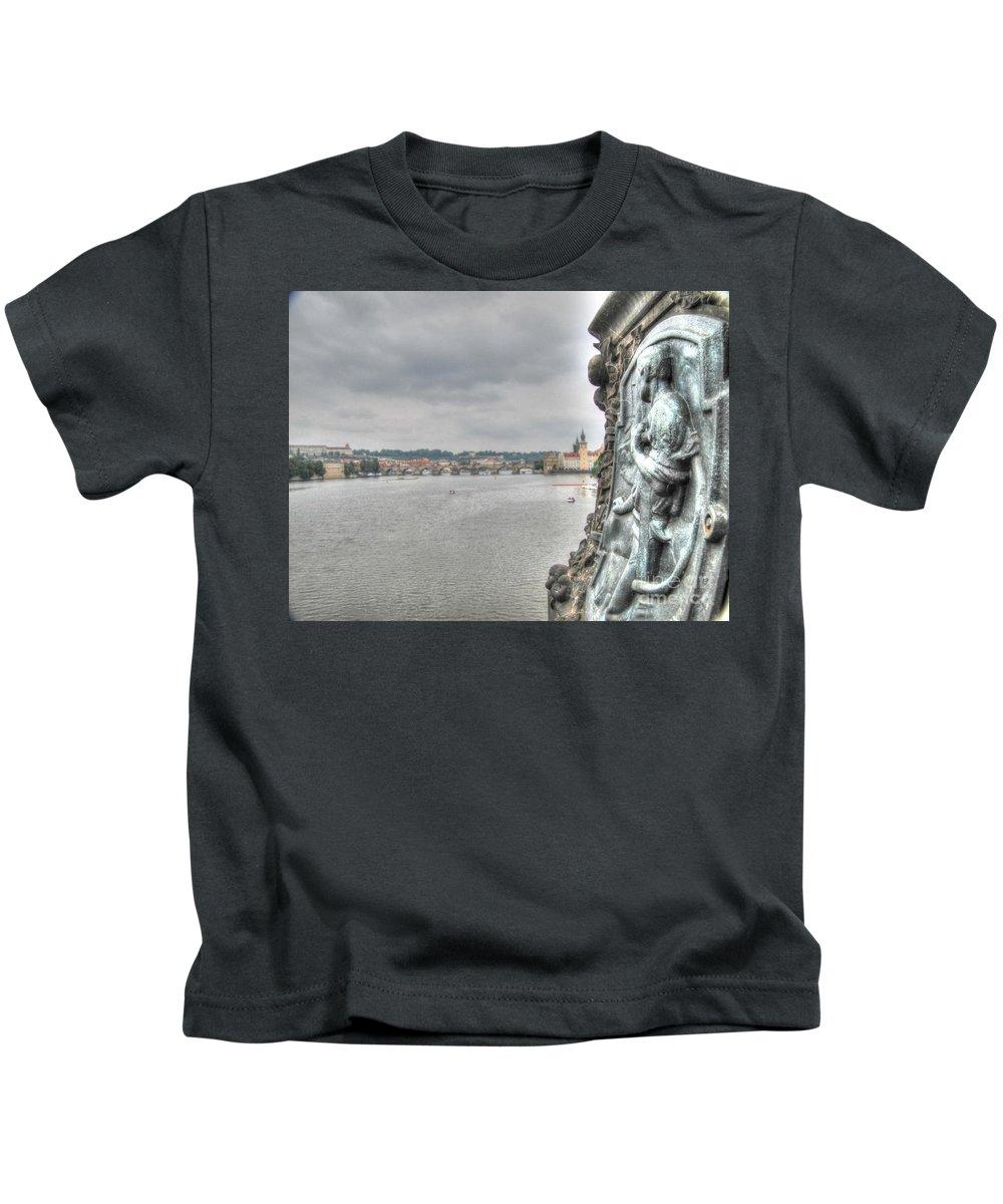 The Embankment City Kids T-Shirt featuring the pyrography the embankment Praha by Yury Bashkin