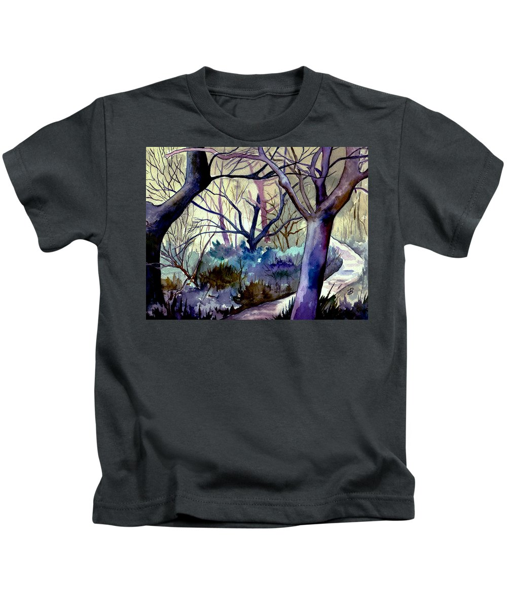 Watercolor Kids T-Shirt featuring the painting The Enchanted Path by Brenda Owen