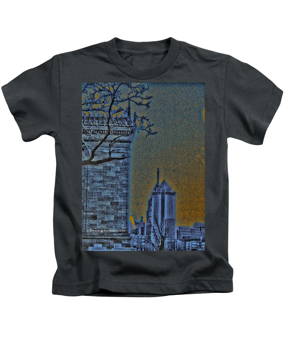 Philadelphia Kids T-Shirt featuring the digital art The Encroachment Upon Art by Vincent Green