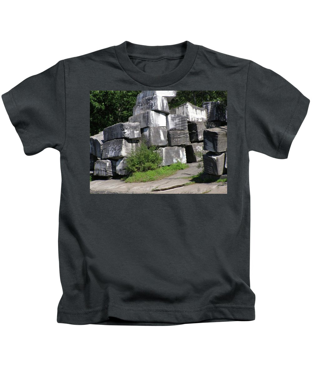 Stone Block Kids T-Shirt featuring the photograph The Faces In The Stone Blocks by Deborah M Rinaldi