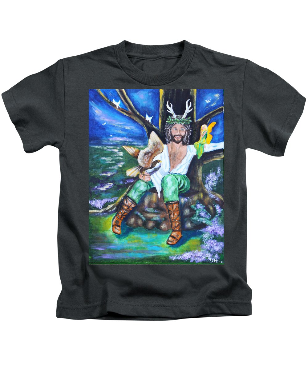 Faery Kids T-Shirt featuring the painting The Faery King by Diana Haronis