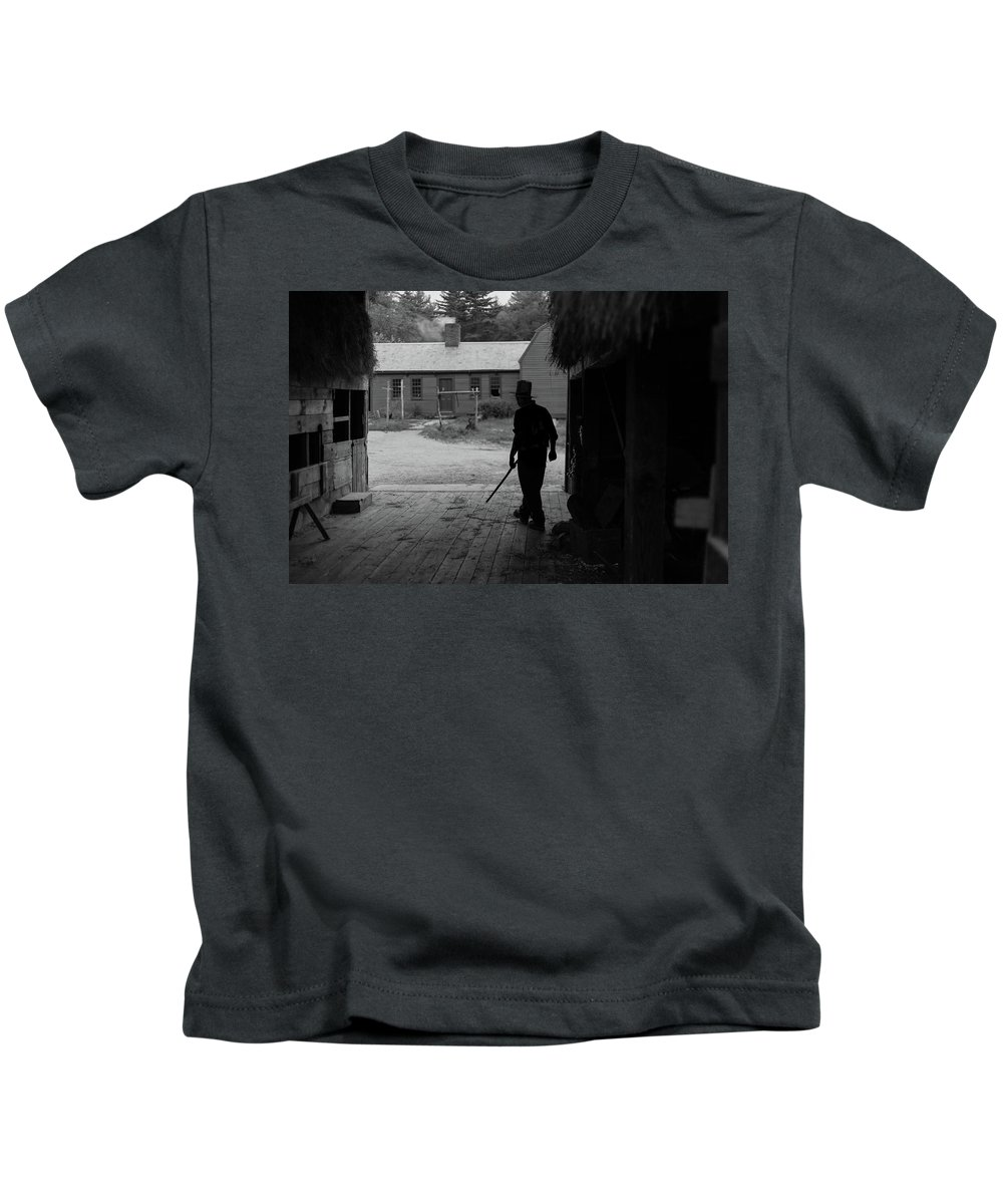 Old Sturbridge Villager Kids T-Shirt featuring the photograph The Farmer by Bruce Coulter