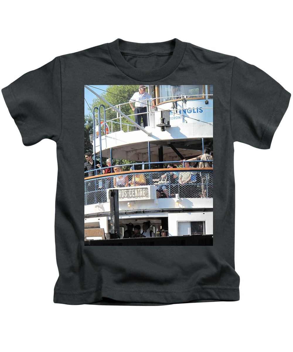 Ferry Kids T-Shirt featuring the photograph The Ferry Arrives by Ian MacDonald