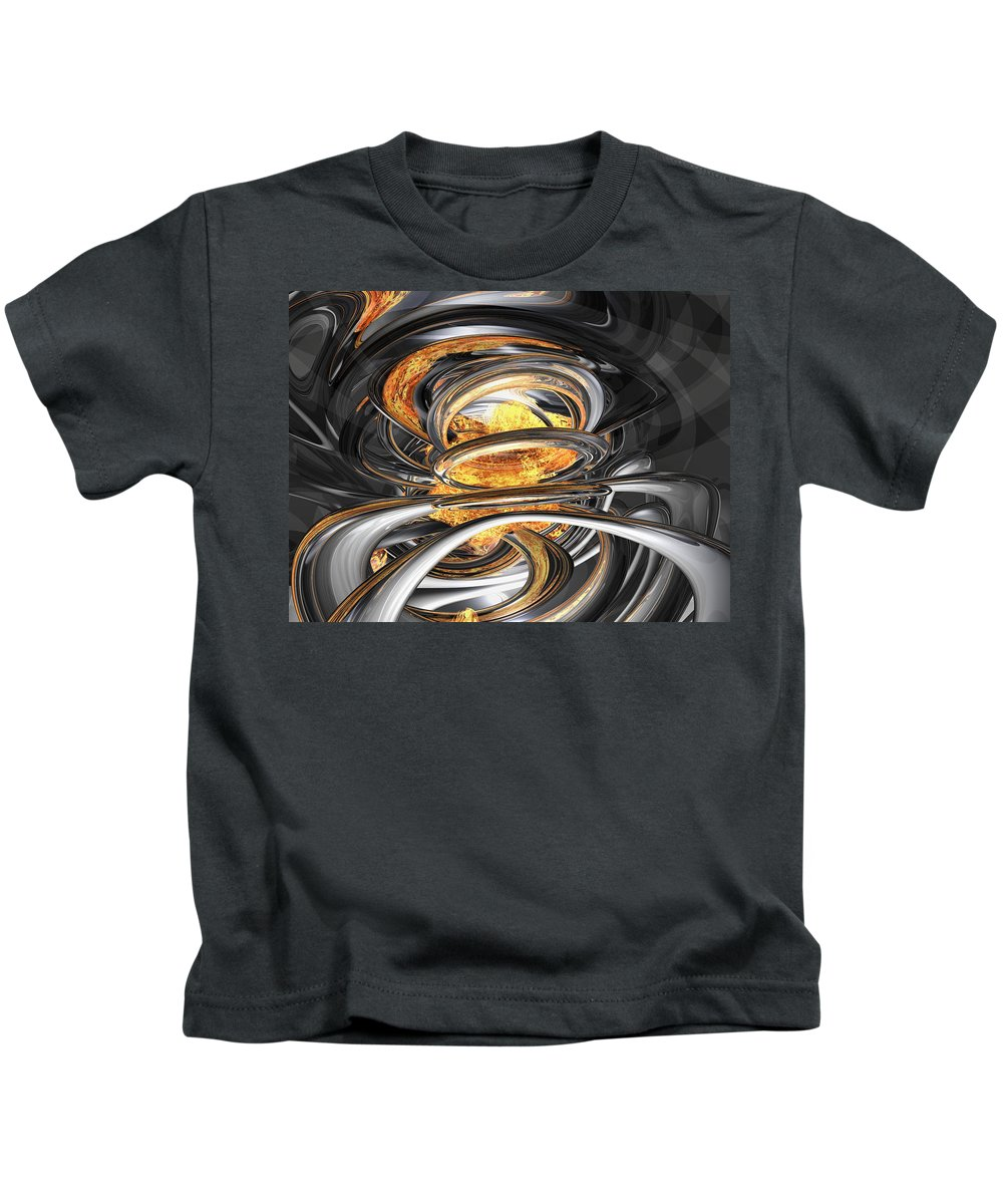 3d Kids T-Shirt featuring the digital art The Fire Within Abstract by Alexander Butler