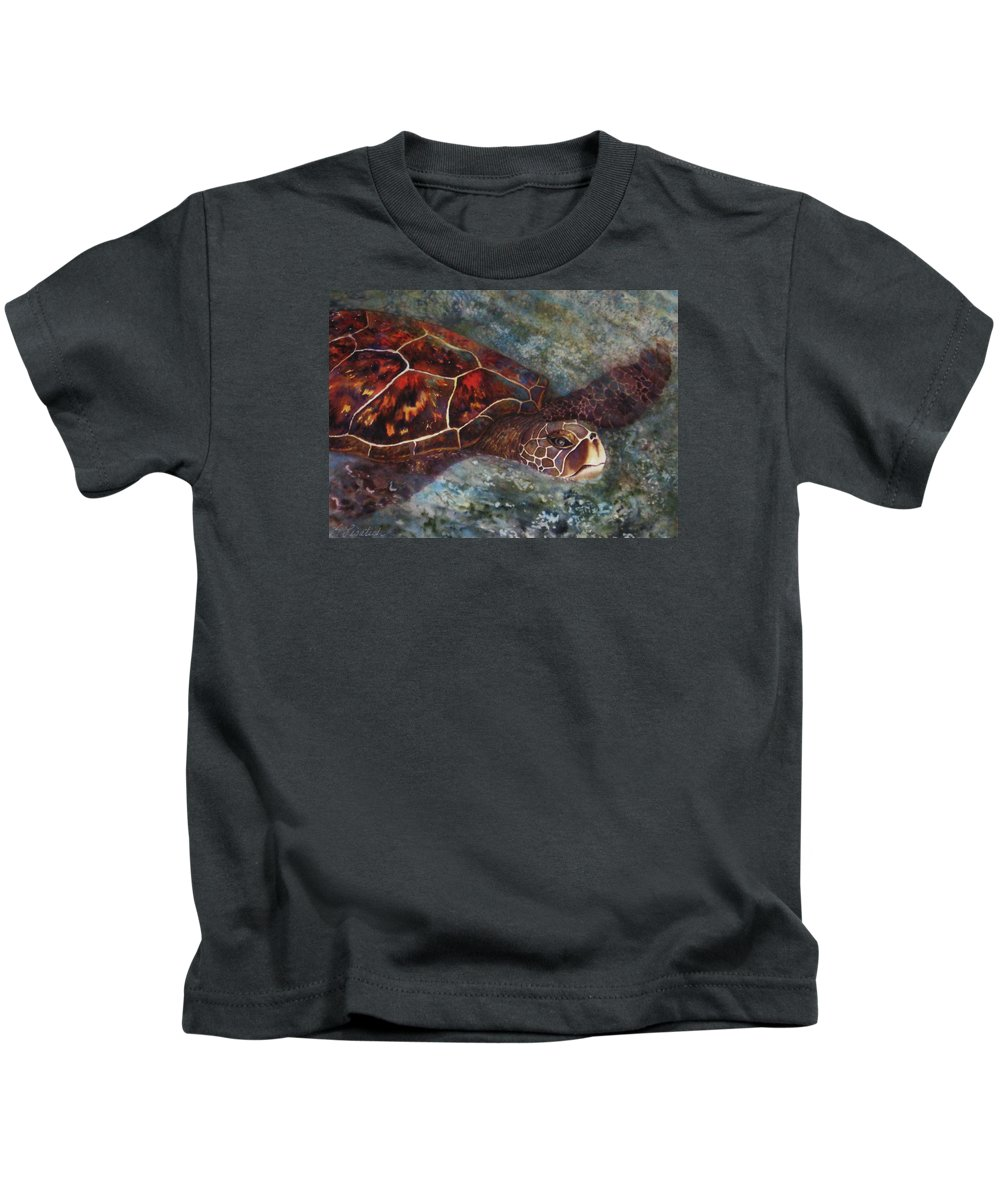 Honu Kids T-Shirt featuring the painting The First Honu by Kerri Ligatich