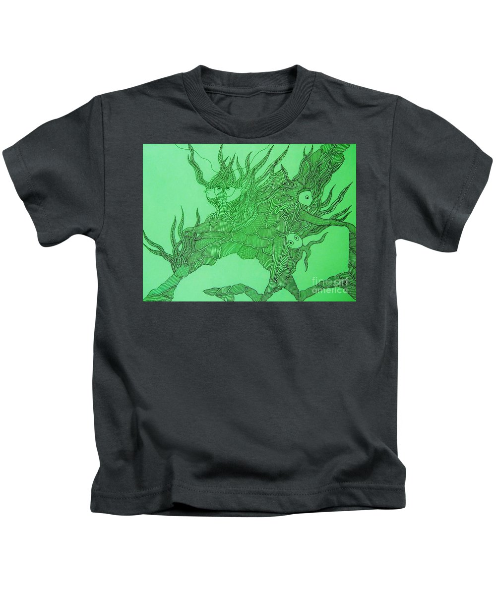Fish Tank Kids T-Shirt featuring the drawing The Fish Tank by Reb Frost