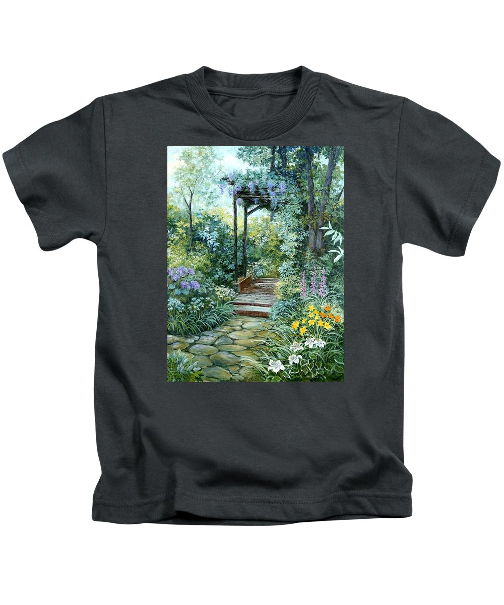 Oil Painting;wisteria;garden Path;lilies;garden;flowers;trellis;trees;stones;pergola;vines; Kids T-Shirt featuring the painting The Garden Triptych Right Side by Lois Mountz