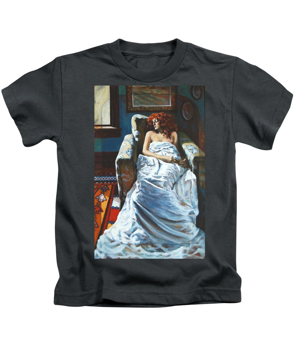 Window Kids T-Shirt featuring the painting The Girl In The Chair by Rick Nederlof