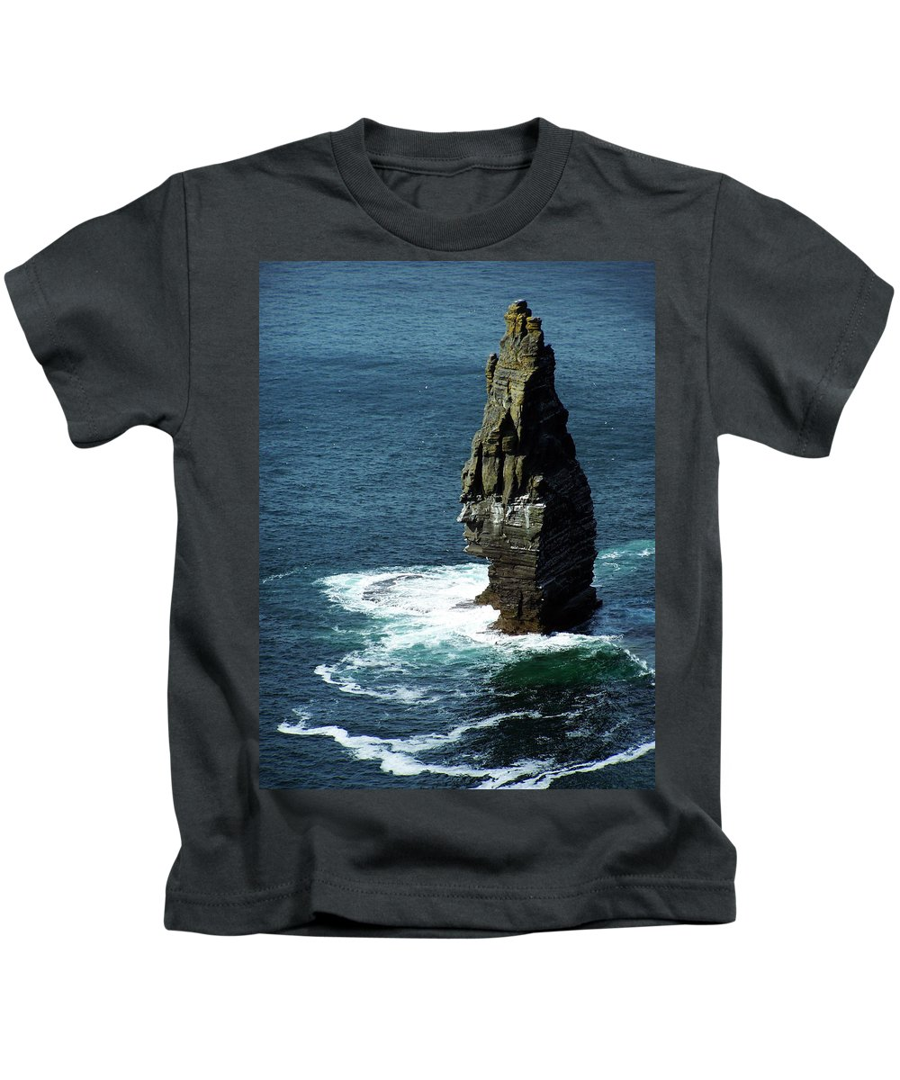 Irish Kids T-Shirt featuring the photograph The Great Sea Stack Brananmore Cliffs Of Moher Ireland by Teresa Mucha