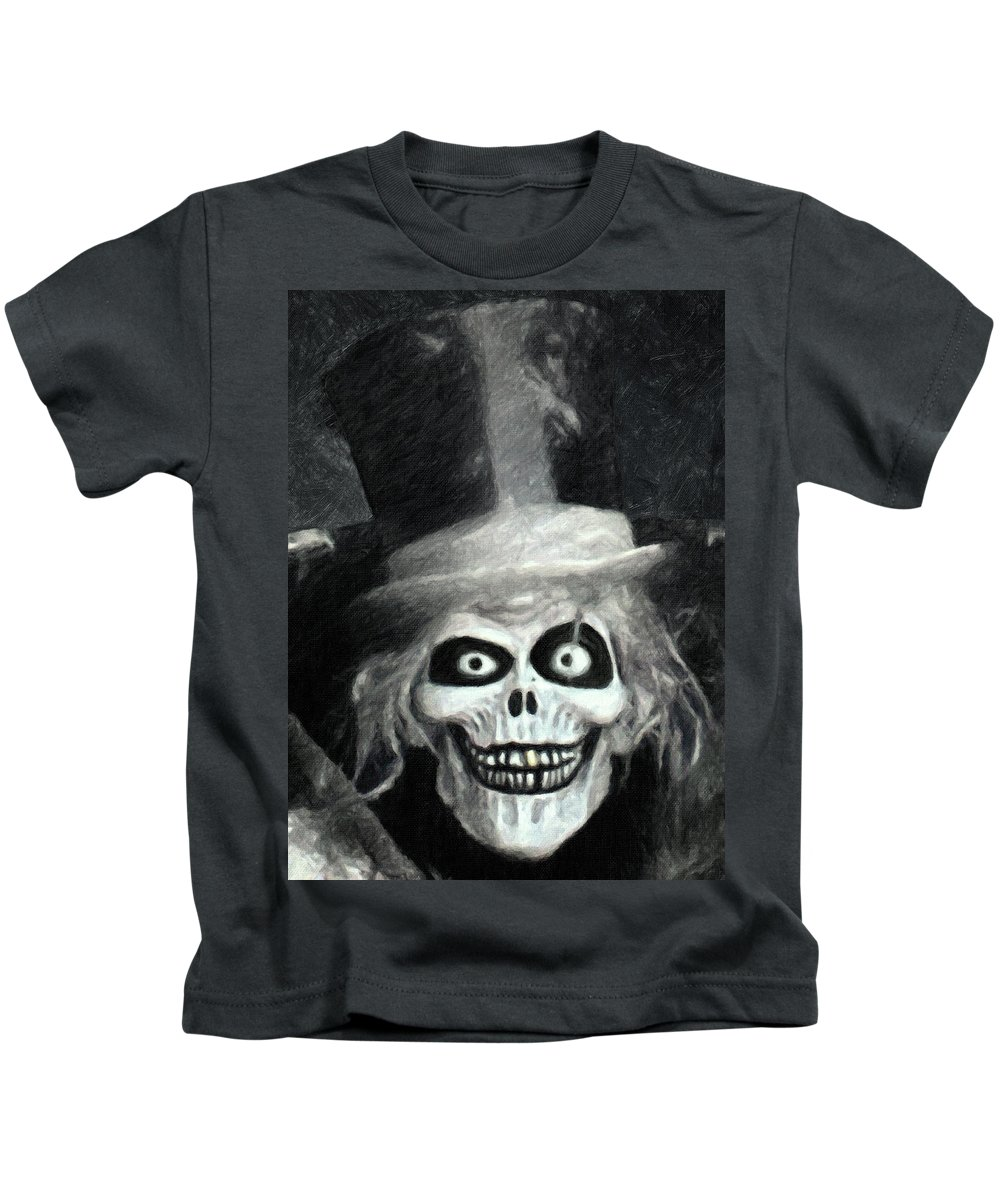 The Hatbox Ghost Kids T-Shirt featuring the painting The Hatbox Ghost by Zapista