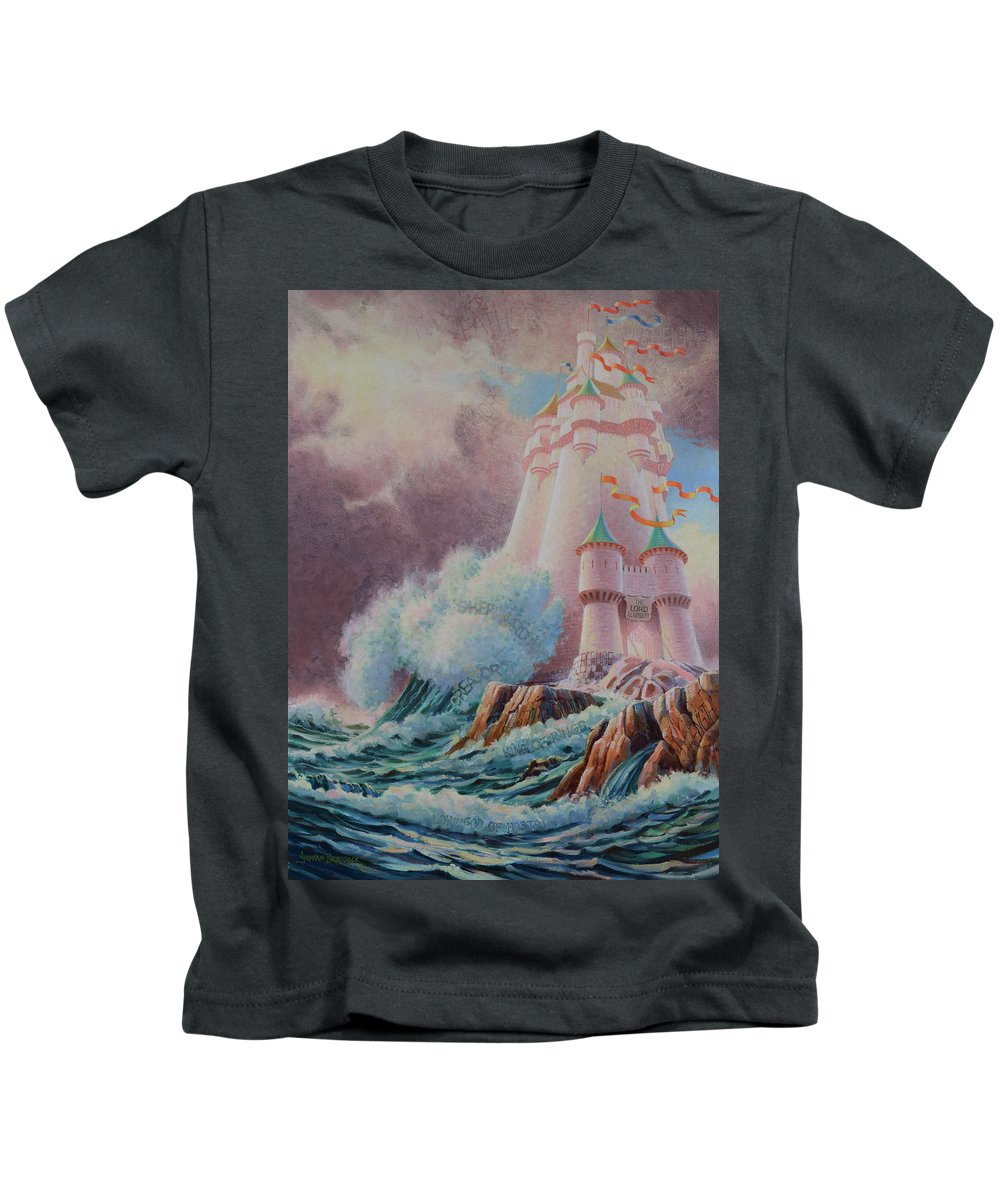 Biblical Kids T-Shirt featuring the painting The High Tower by Graham Braddock