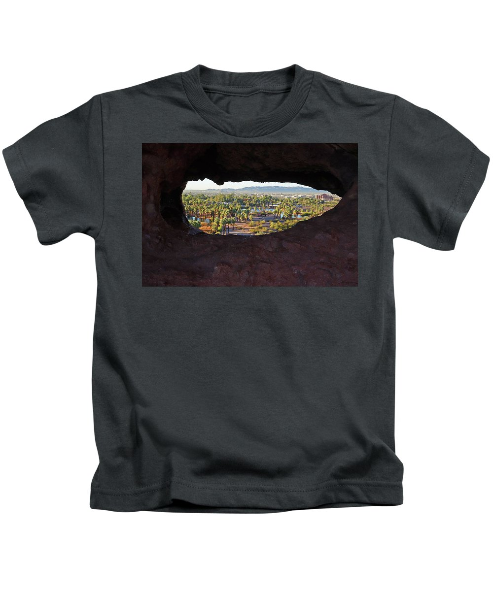 Phoenix Kids T-Shirt featuring the photograph The Hole-in-a-rock Popago Park Phoenix Arizona by Toby McGuire