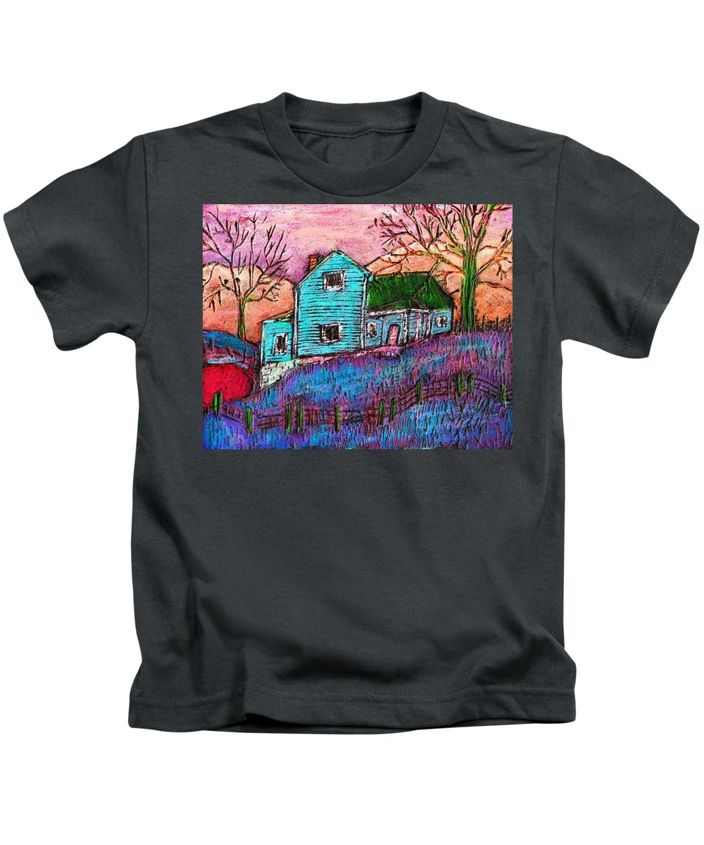 Farm Kids T-Shirt featuring the painting The Homestead I by Wayne Potrafka