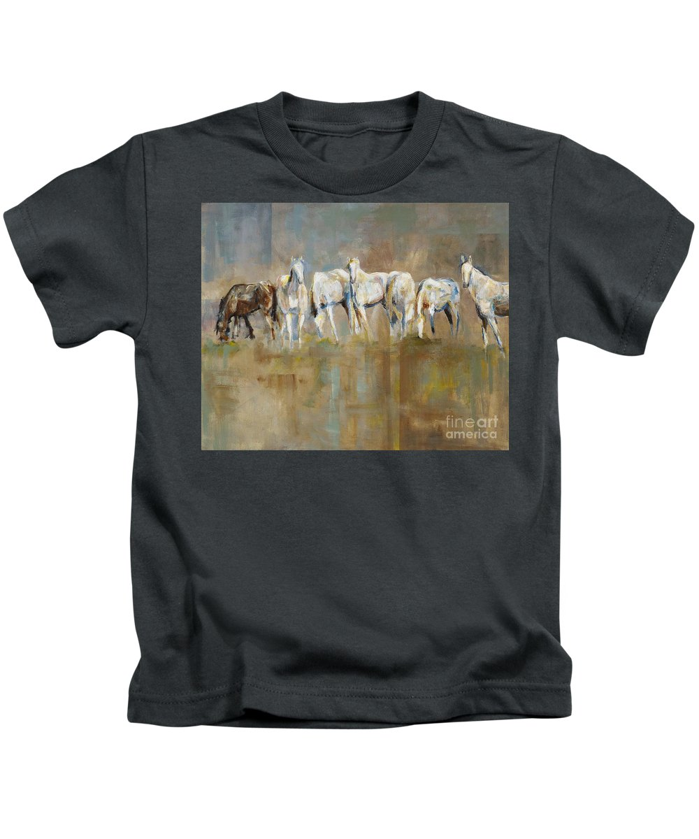 Horses Kids T-Shirt featuring the painting The Horizon Line by Frances Marino