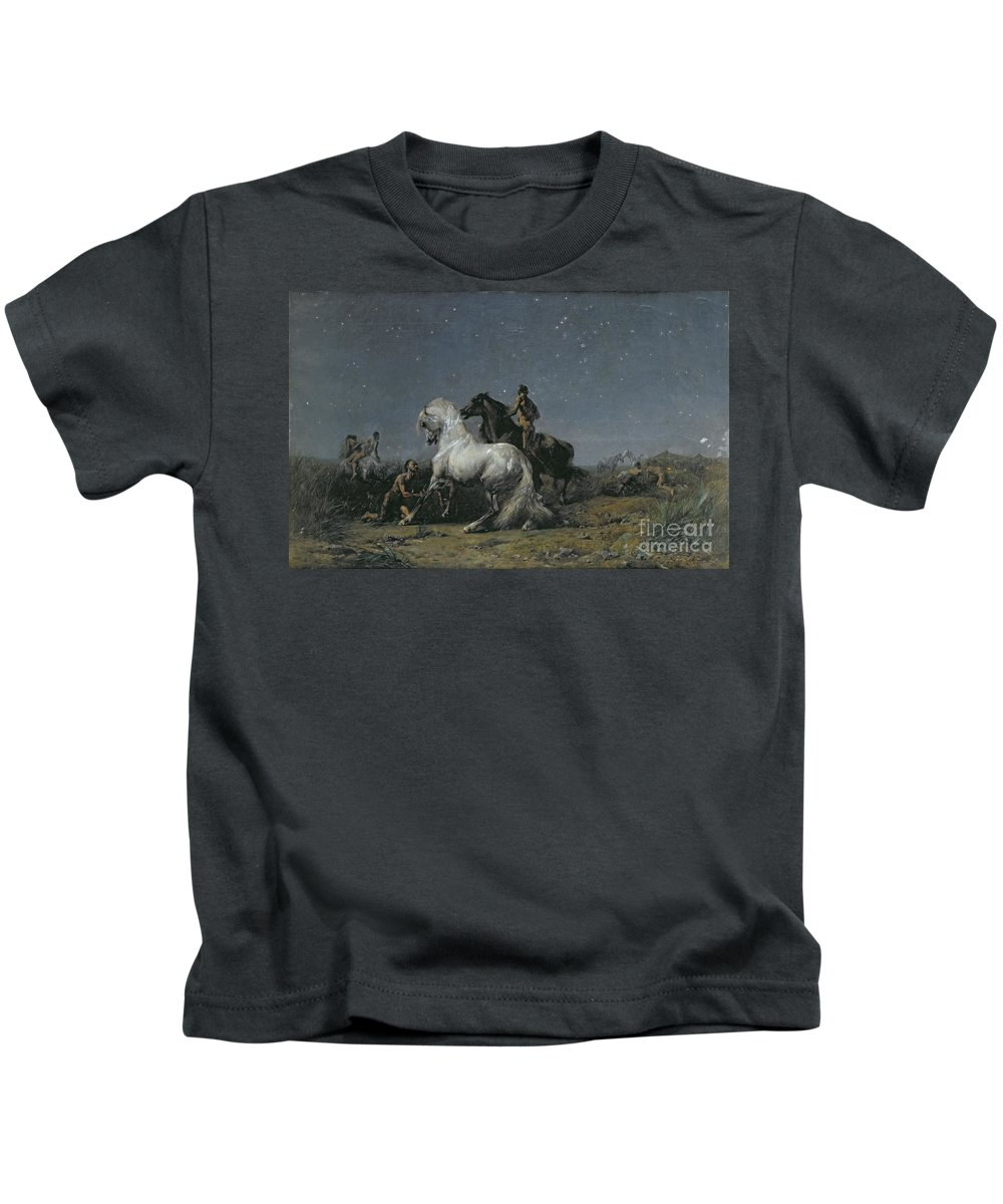 The Kids T-Shirt featuring the painting The Horse Thieves by Ferdinand Victor Eugene Delacroix
