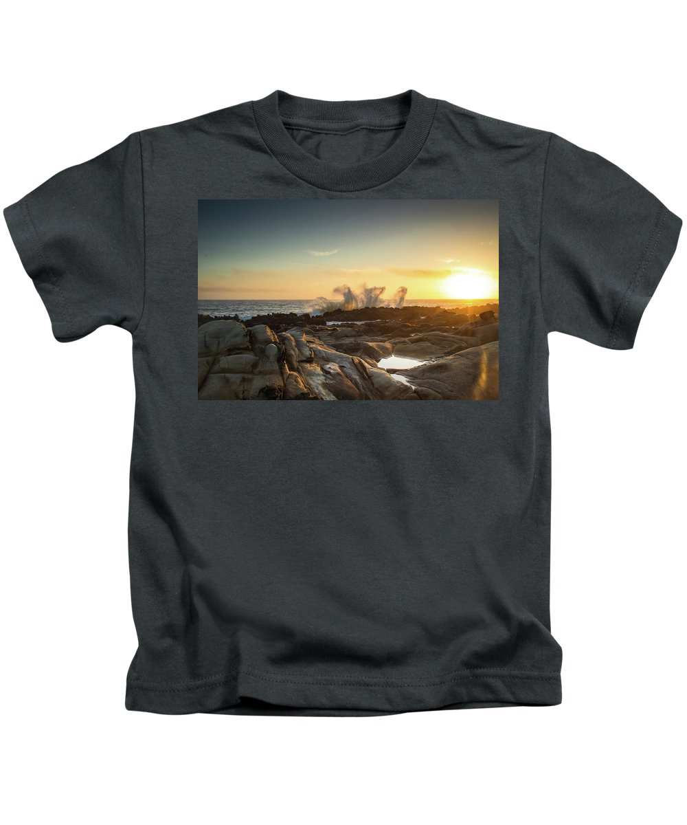 Waves Kids T-Shirt featuring the photograph The Horses Arrive by Marni Moore