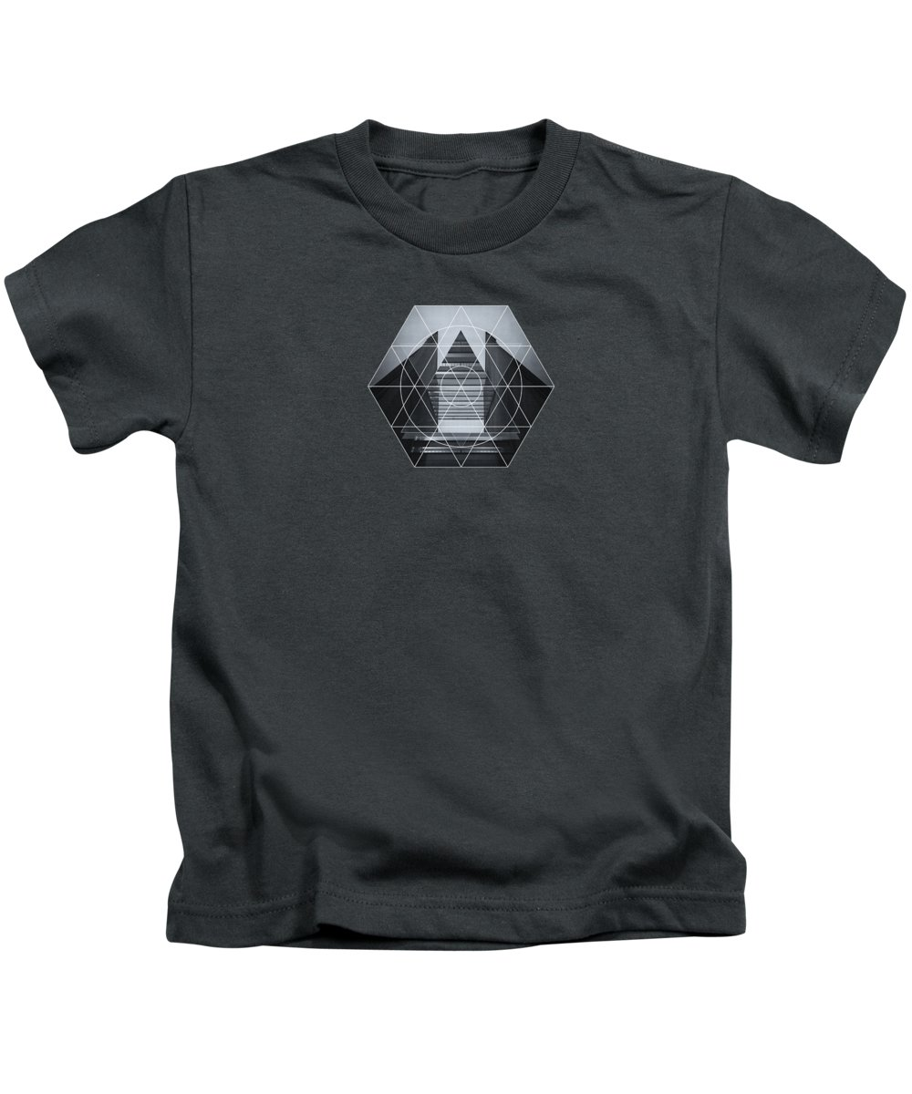 Back White Kids T-Shirt featuring the photograph The Hotel Experimental Futuristic Architecture Photo Art In Modern Black And White by Philipp Rietz